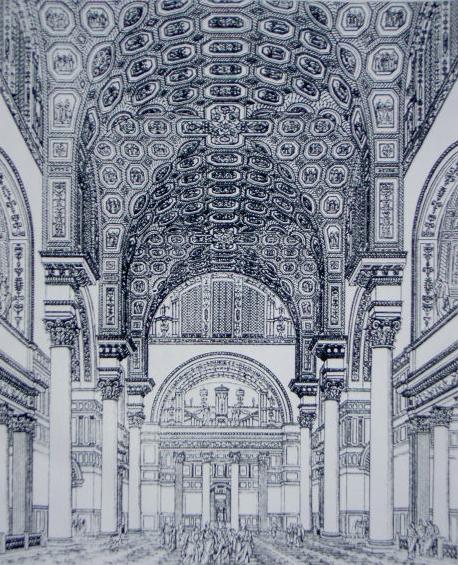Bildbeschreibung Innenraum der Caracalla-Thermen (Tepidarium), aus F.A. Genzmer Bade- und Schwimm-Anstalten, Stuttgart 1899