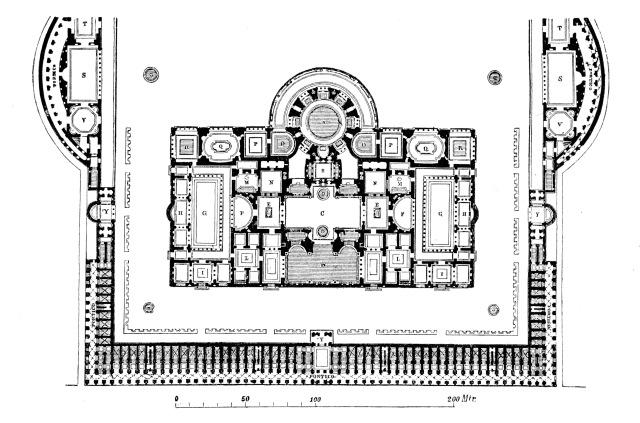 Rekonstruierter Grundriss der Caracalla-Thermen. Quelle, Wilhelm Lübke, Max Semrau Grundriß der Kunstgeschichte. Paul Neff Verlag, Esslingen, 14. Auflage 1908.